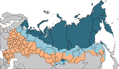 Карта с территориями Крайнего Севера