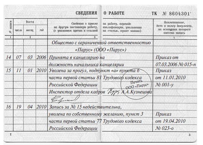 Исправление записи об увольнении в трудовой книжке по образцу: как исправить неправильную или ошибочную формулировку, если она внесена ошибочно{q}